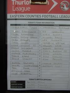 Coggeshal Town Fc v Haverhill Borough team sheet