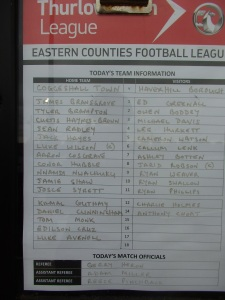 Coggeshal Town Fc v Haverhill Borough team sheet
